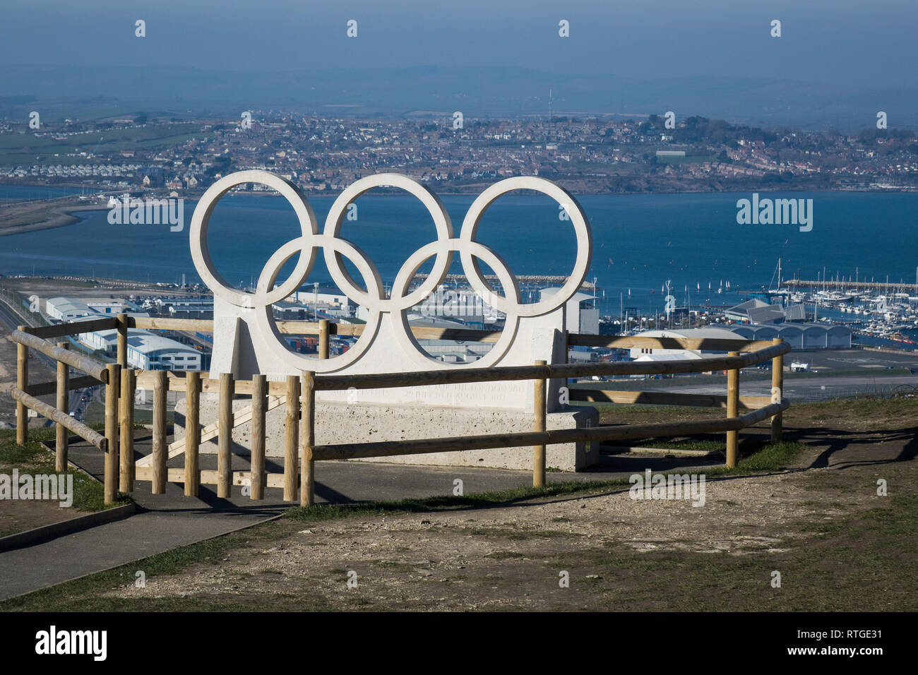 England, Dorset, Portland harbour, Olympic rings at site of sailing venue for the 2012 London games - Stock Image