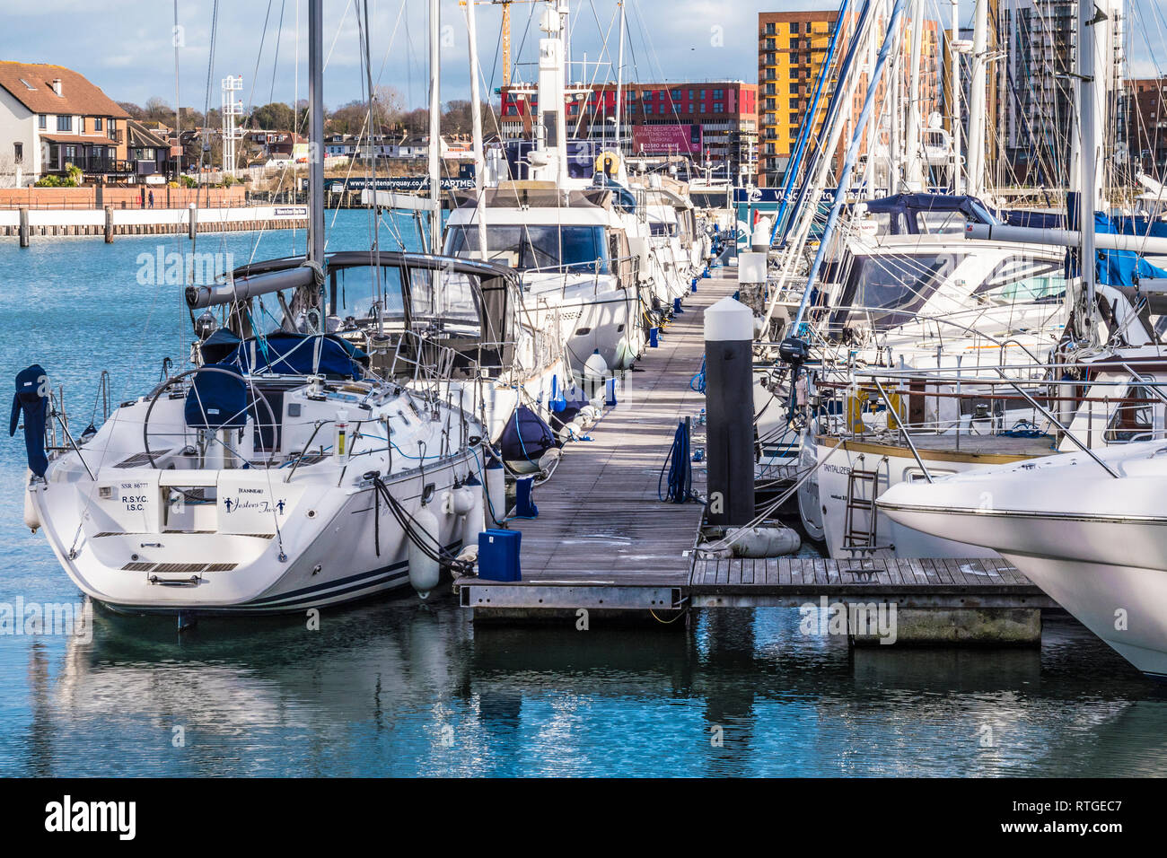 Ocean Village and Centenary Quay in Southampton, UK. - Stock Image