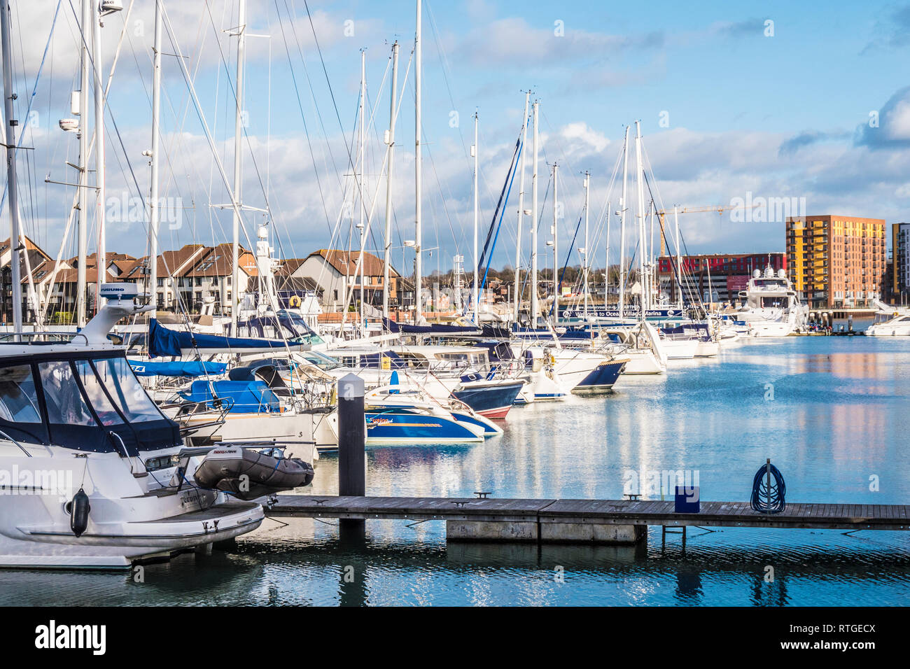 The Ocean Village Marina and Centenary Quay in Southampton, UK. Stock Photo
