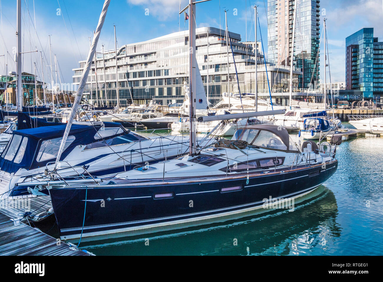 The Ocean Village Marina in Southampton, UK. - Stock Image