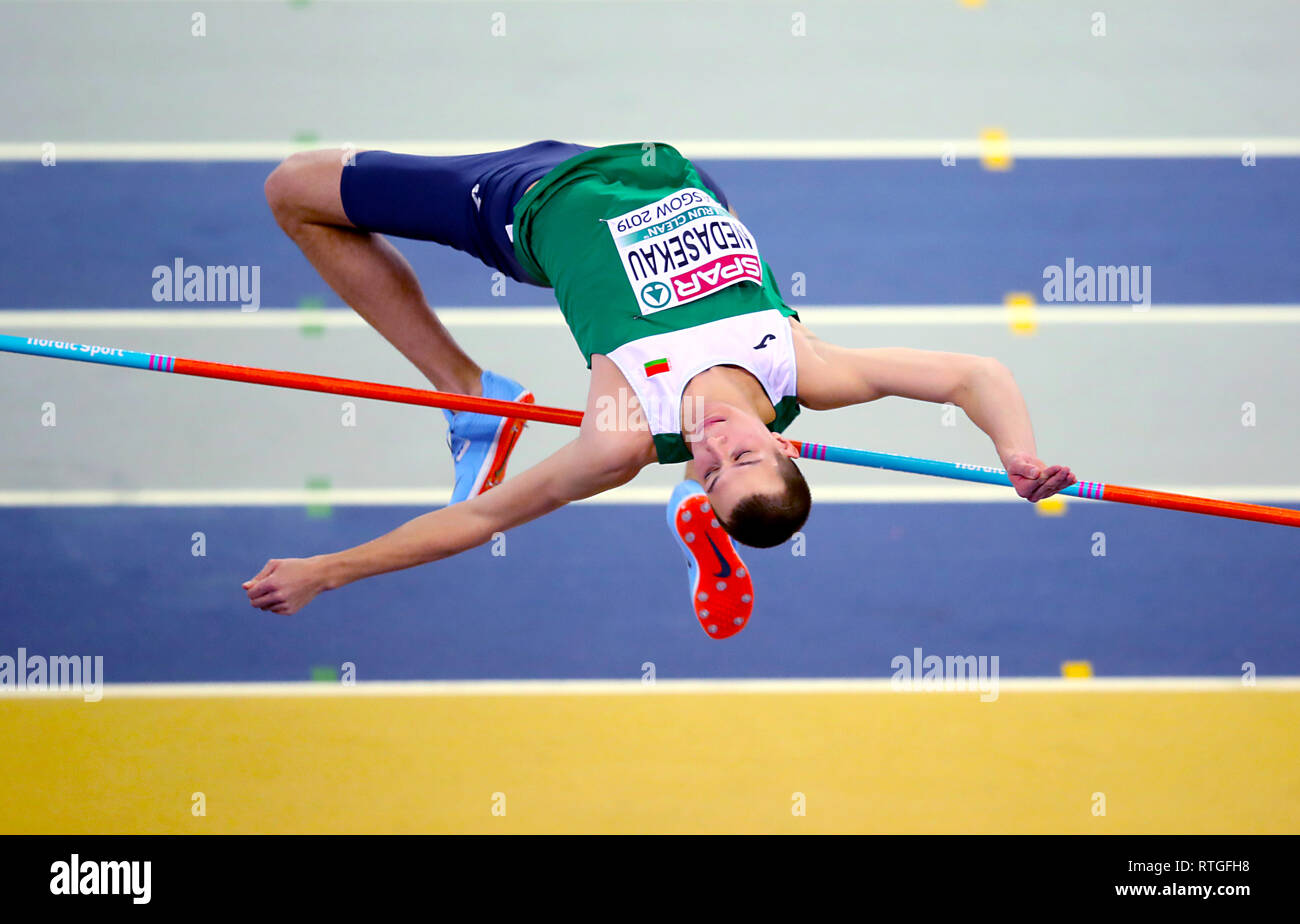 Belarus' Maksim Nedasekau competes in the Men's High Jump qualifying during day one of the European Indoor Athletics Championships at the Emirates Arena, Glasgow. - Stock Image
