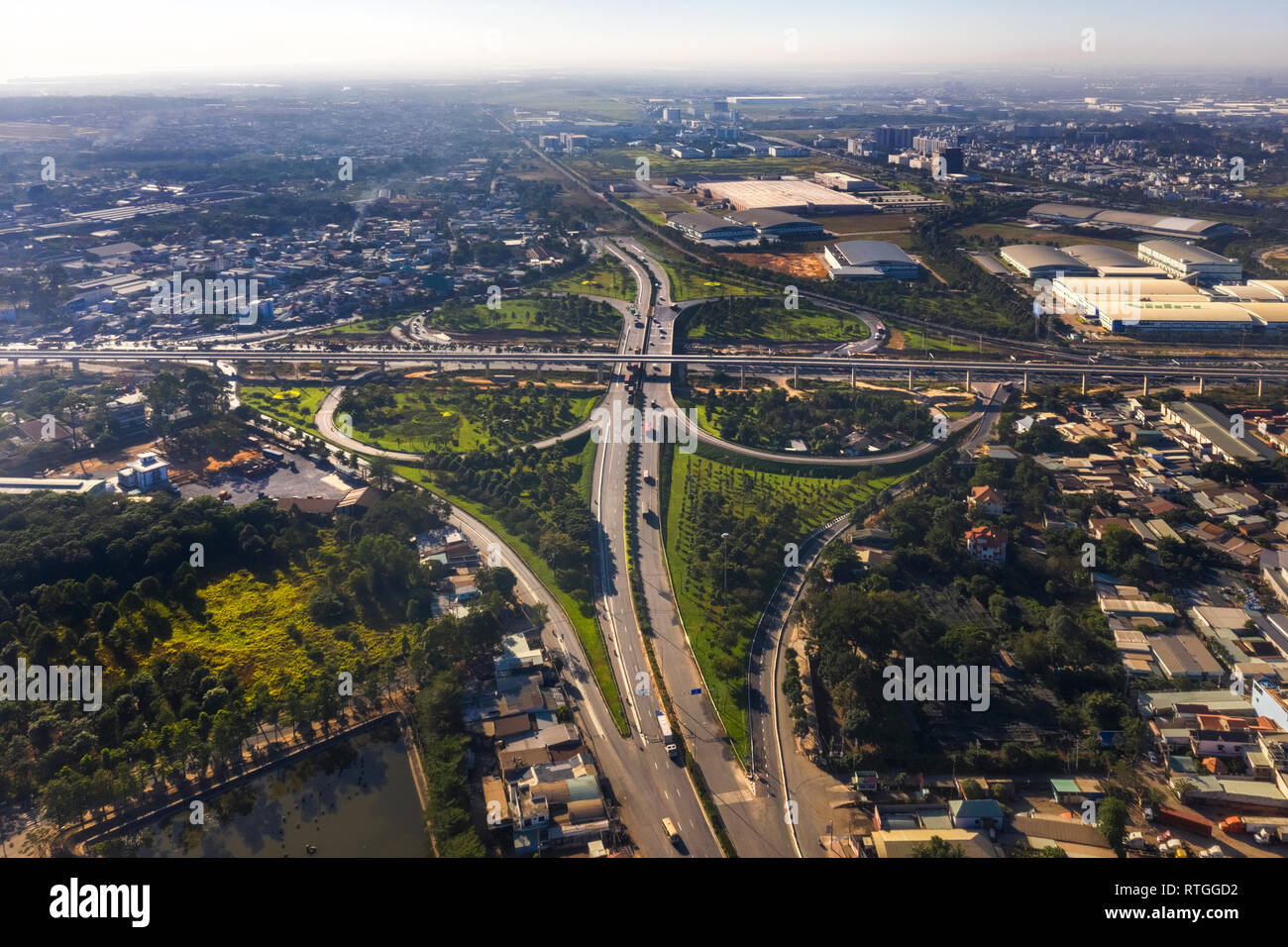 Top view aerial of ' Tram 2 ' overpass, intersection of 1A national road with Hanoi highway. Ho Chi Minh City, Vietnam. View from Dong Nai to 9 - Stock Image