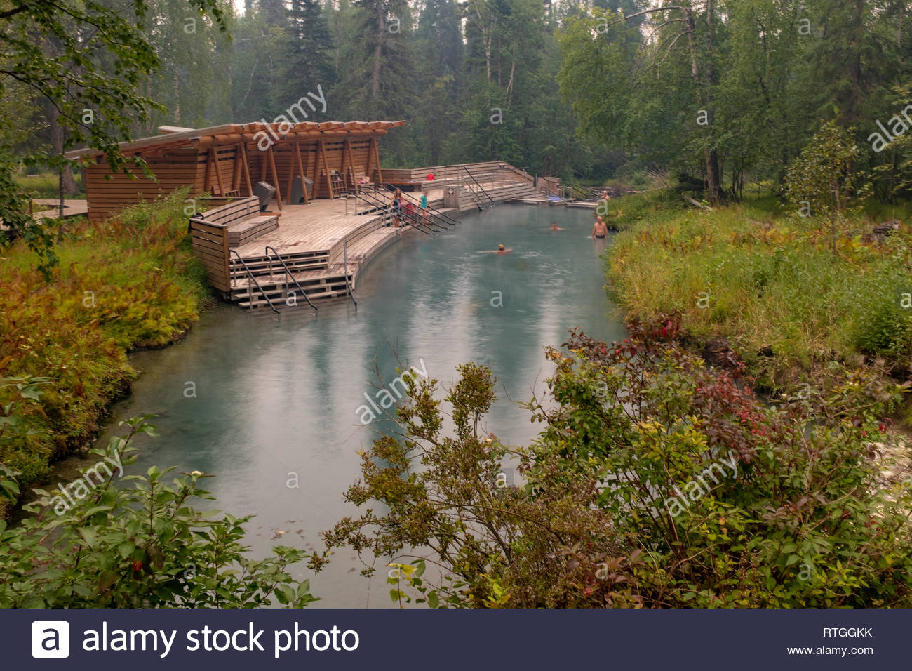 Familes enjoying the therapeutic hot waters of Liard River Hot Springs in British Columbia, Canada, the green of the forest all around. - Stock Image
