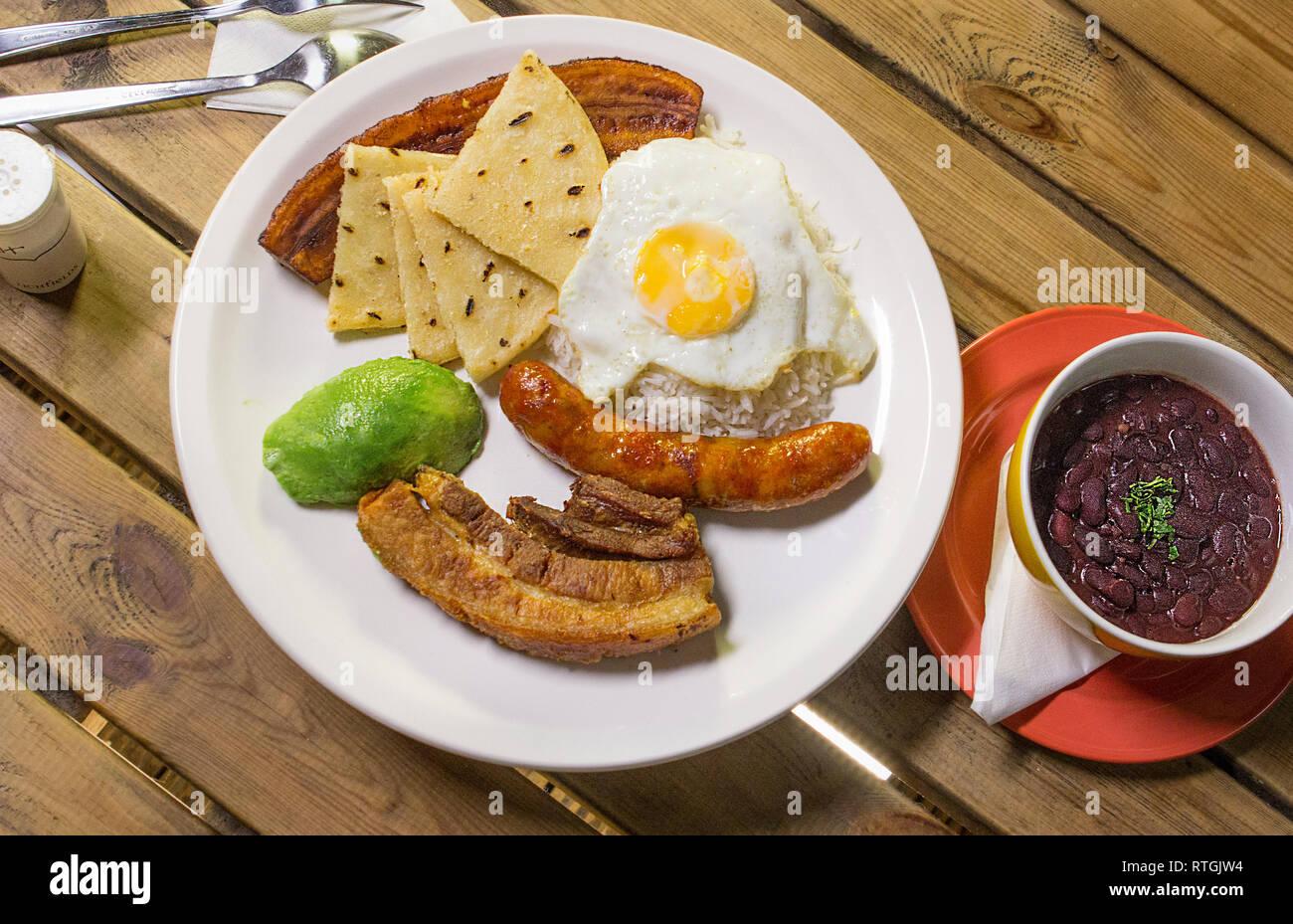 colombian dish plato colombiano bandeja paisa Stock Photo