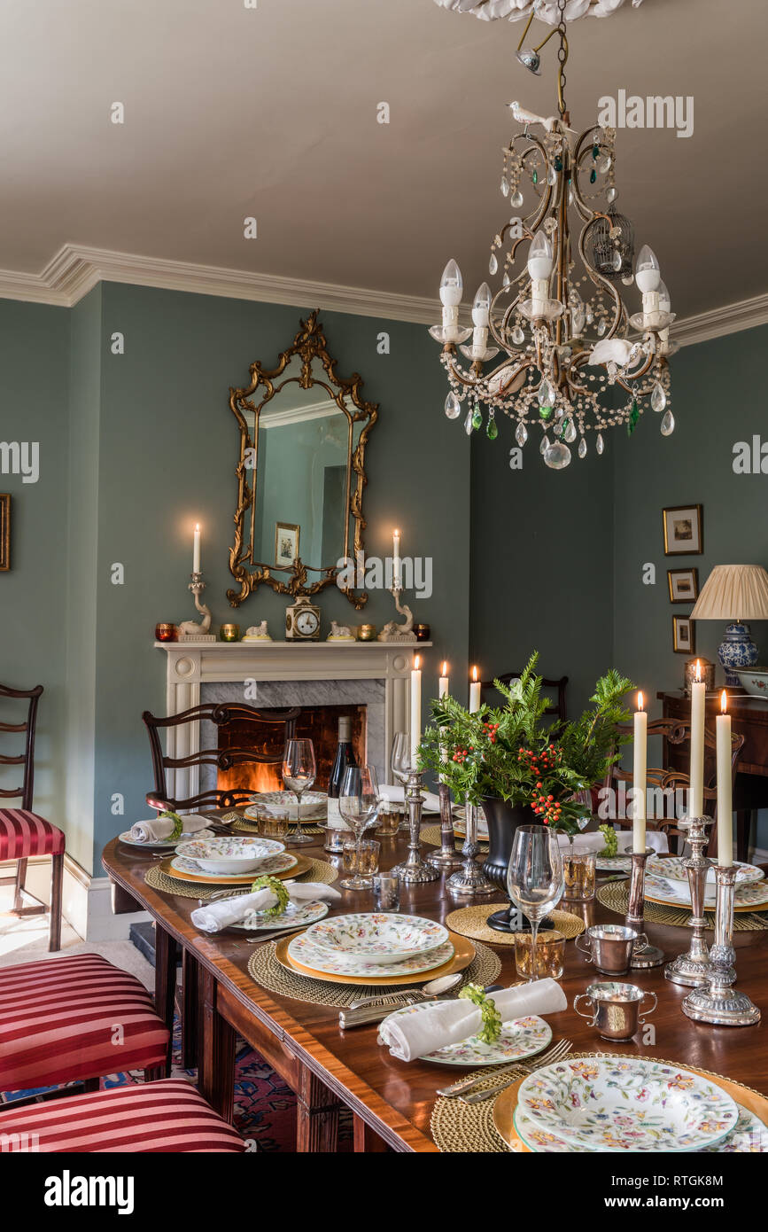 Mahogany Dining Table With Chairs Upholstered In Regency Stripe English Fireplace