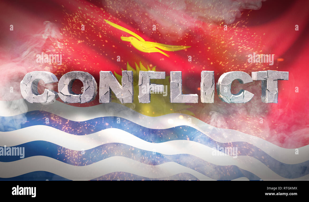 Conflict concept in Kiribati. Waved highly detailed fabric texture. 3D illustration. - Stock Image