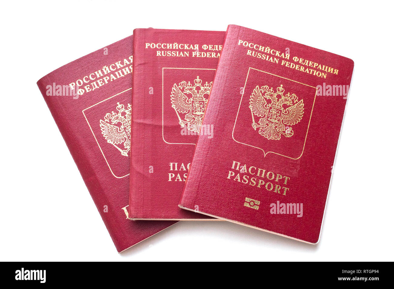 Three passport of the citizen of the Russian Federation on a white background - Stock Image