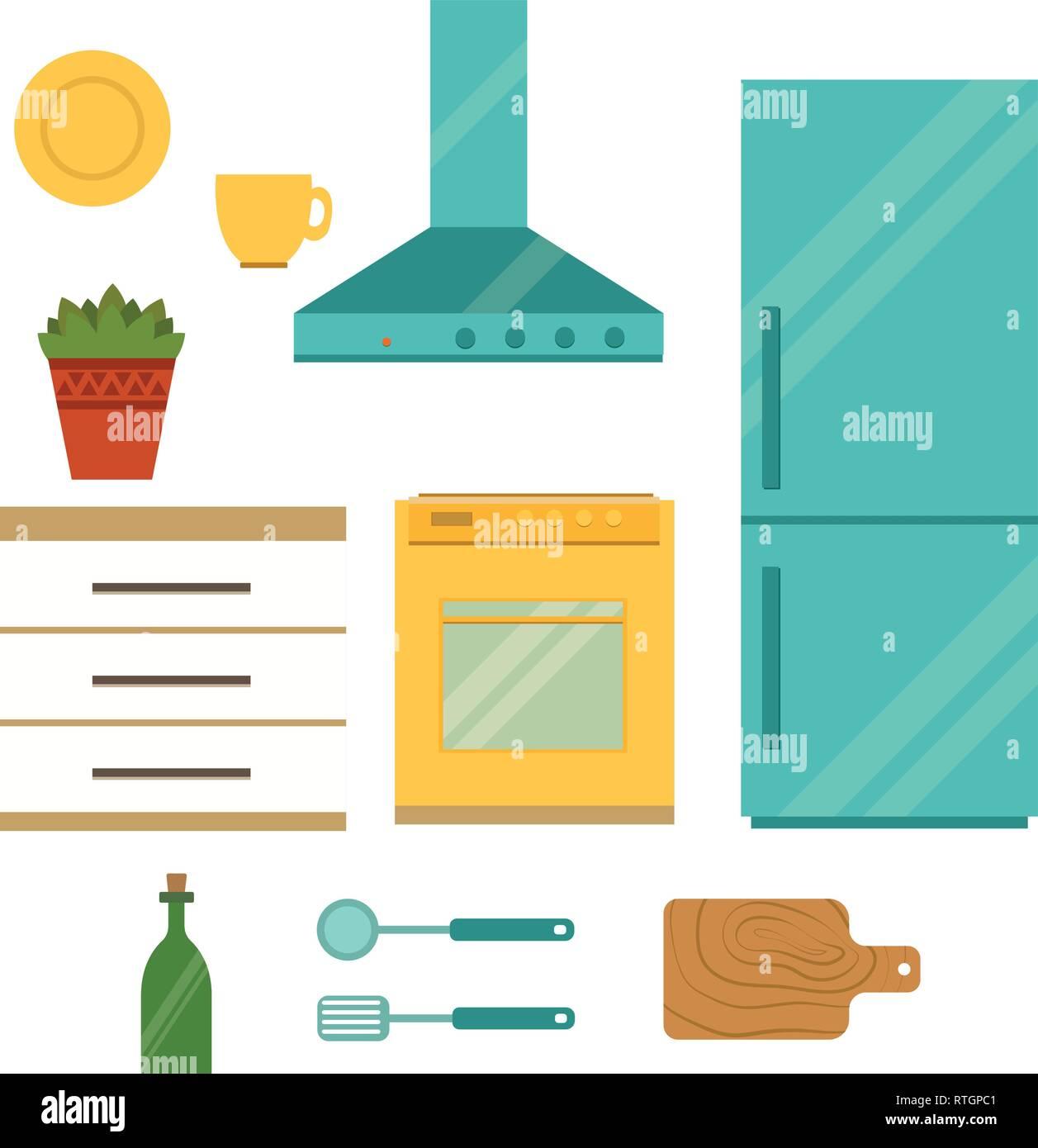 Set of Kitchen utensils Flat kitchen interior Vector illustration. - Stock Vector