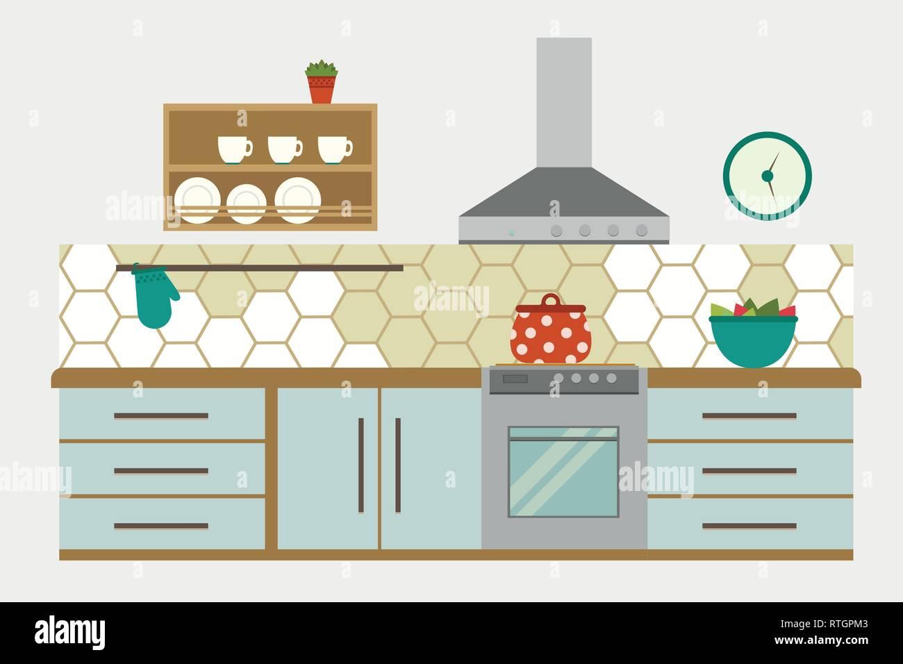 Kitchen Interior Flat Kitchen Interior Vector Illustration Stock