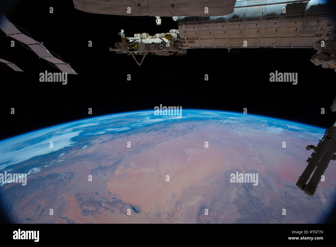 View of the Sahara desert from the International Space Station Stock Photo
