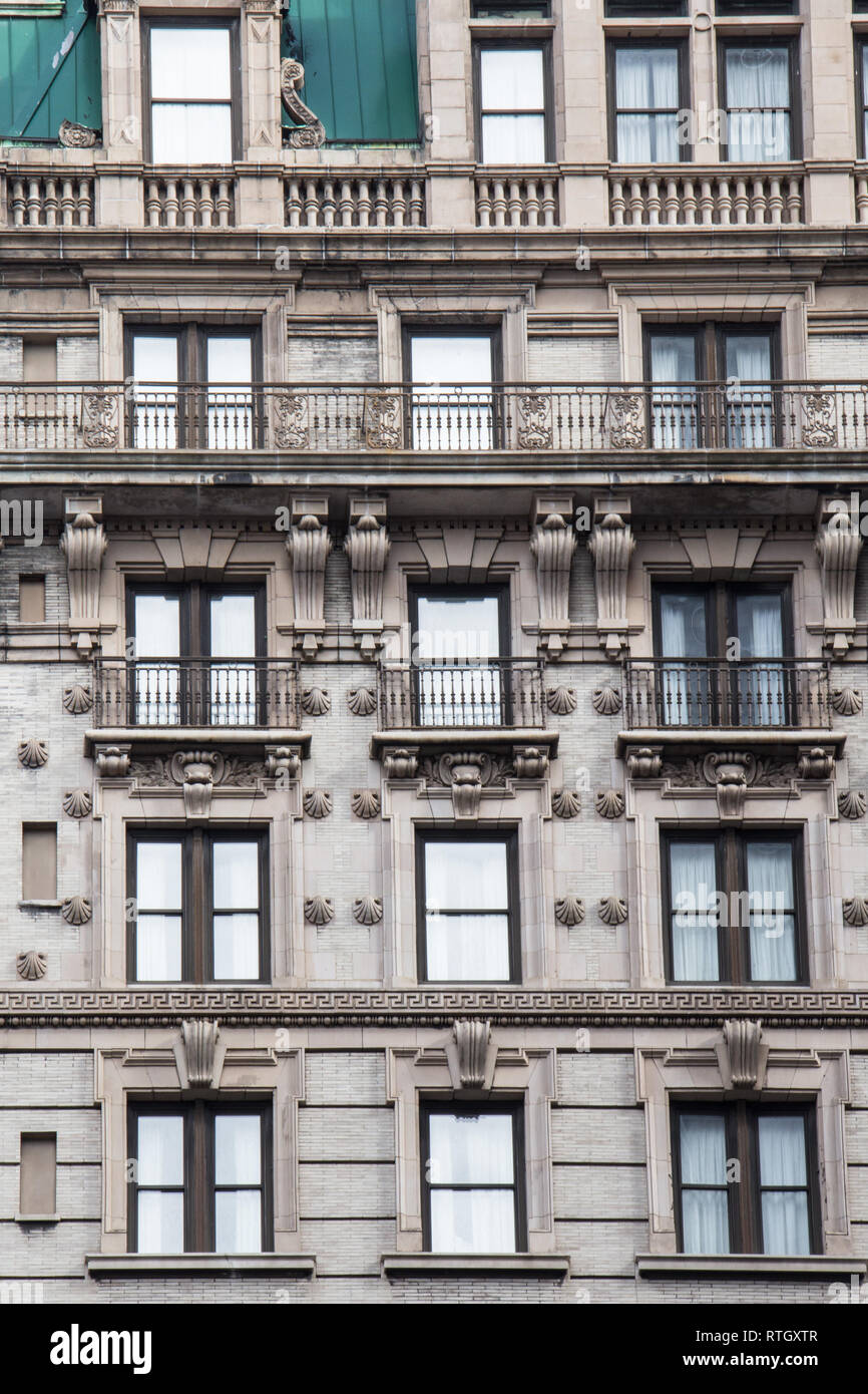 NEW YORK CITY - FEBRUARY 19, 2018: Architectural details on historic 1232-1238 Broadway, formerly known as the Grand Hotel. This notable landmark is o - Stock Image