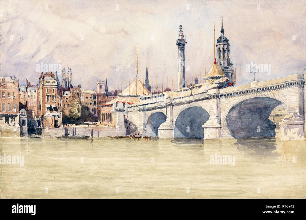 The Opening of the New London Bridge, painting, 1831, David Cox - Stock Image