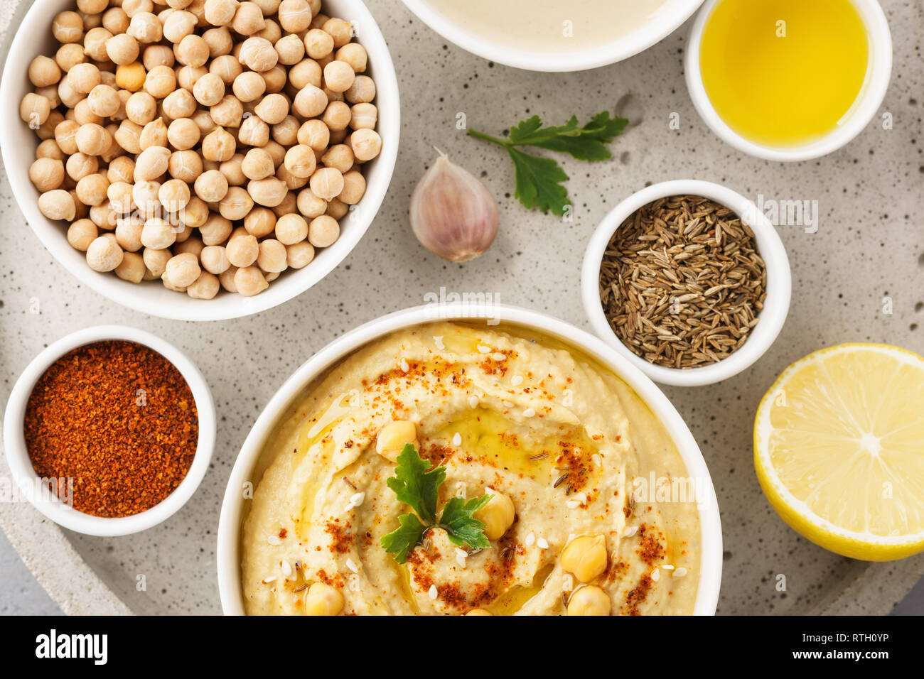 Hummus Bowl And Raw Ingredients For Cooking Middle Eastern