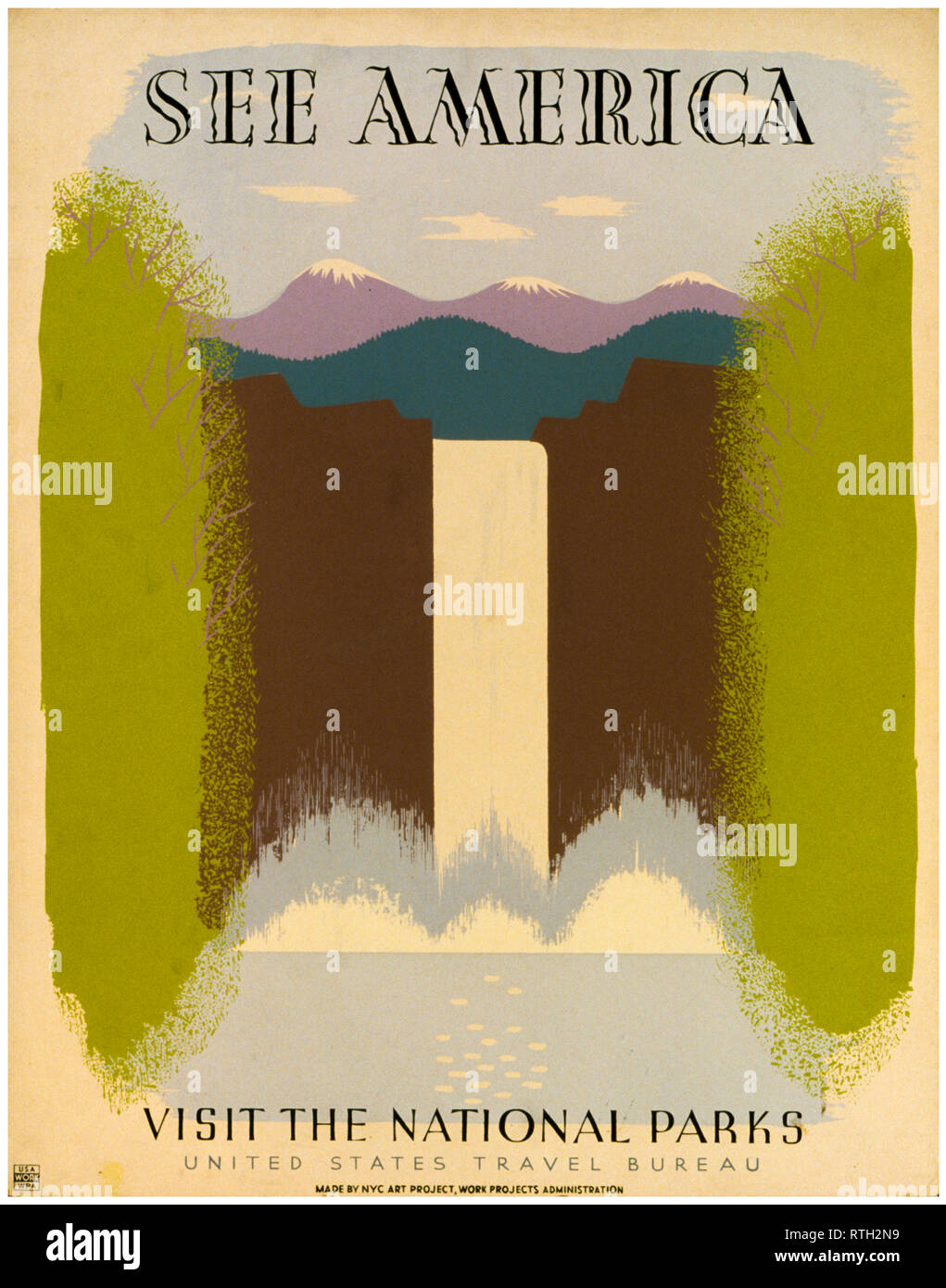 See America, Visit the National Parks, vintage travel poster, 1936-1940 - Stock Image
