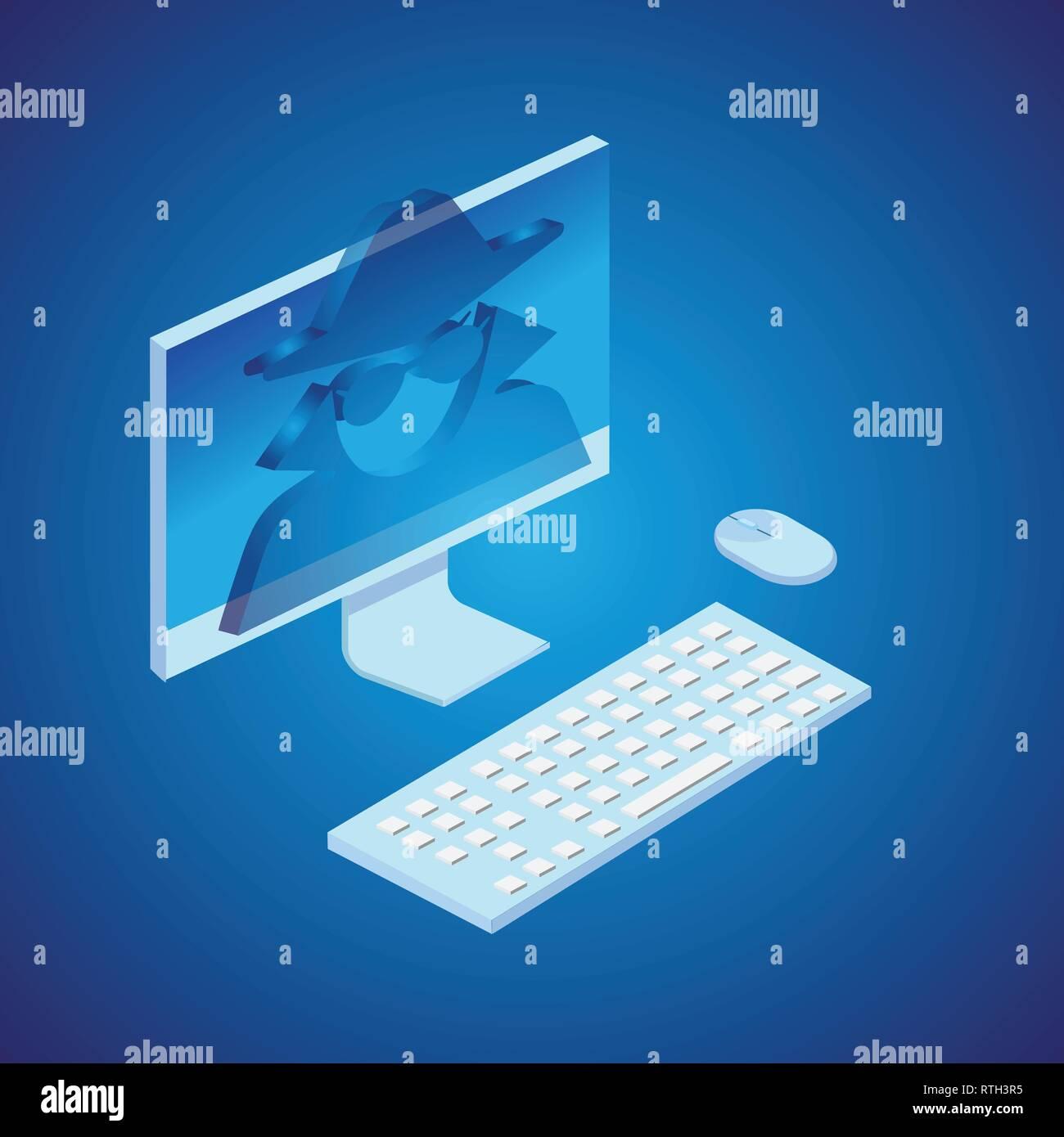 Spy in computer. Isometric style. Vector. - Stock Vector