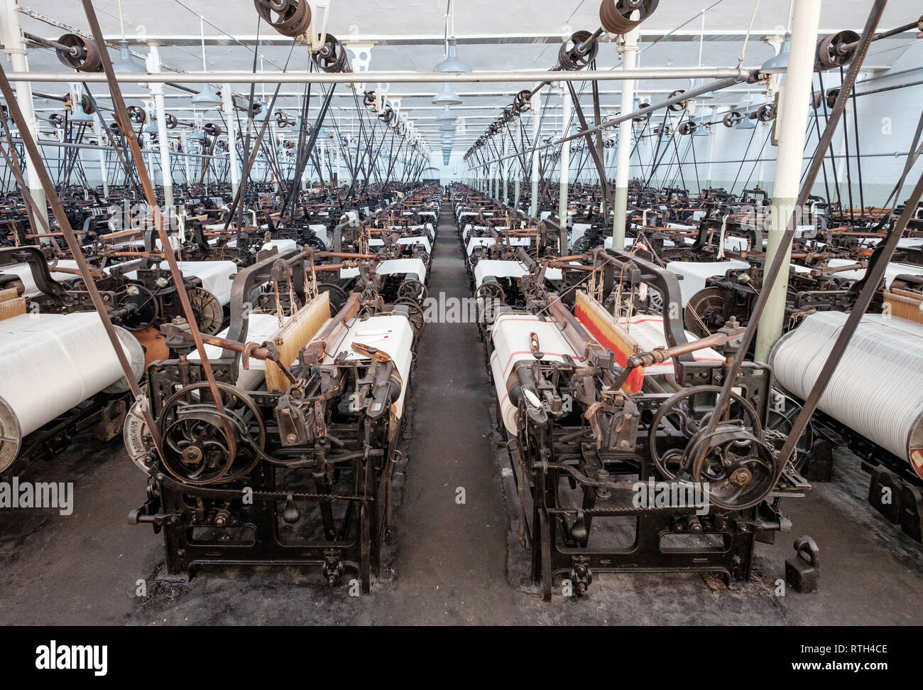 The weaving shed at Queen Street Mill in Lancashire, a preserved steam powered textile mill. - Stock Image