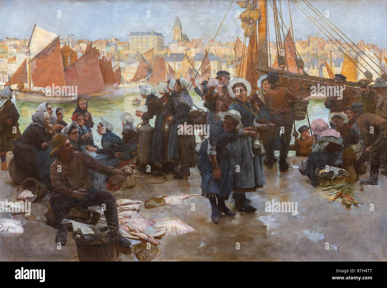 The Departure of the Fishing Fleet, Boulogne, Albert Chevallier Taylor, 1891, - Stock Image