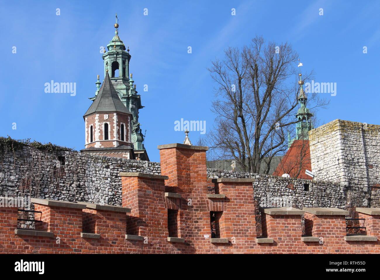 Wawel castle in Kraków, view of the wall - Stock Image