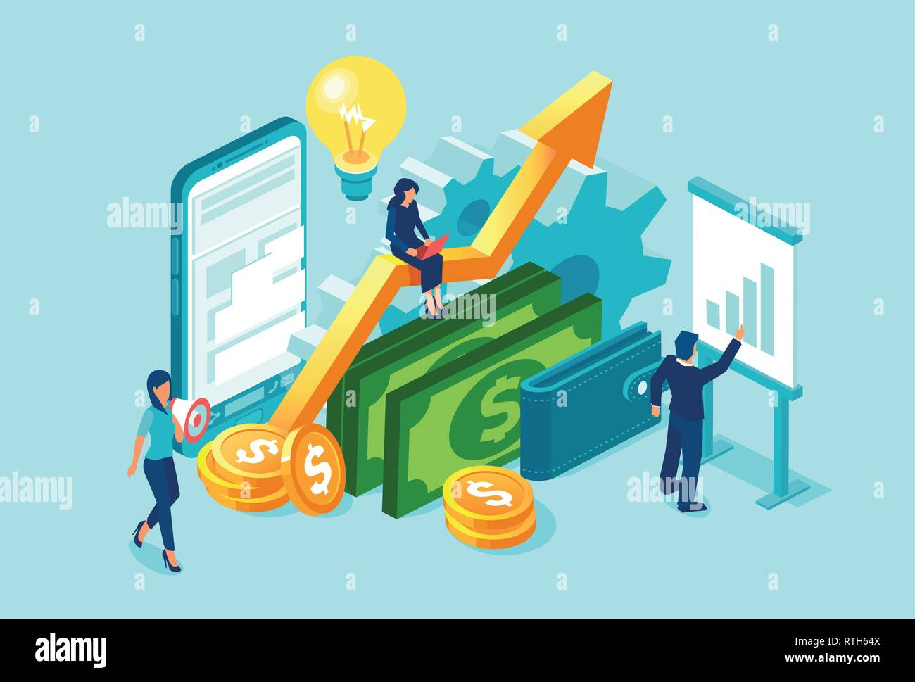 Vector business team working on financial data analysis and profitability using modern technology and marketing skills - Stock Image