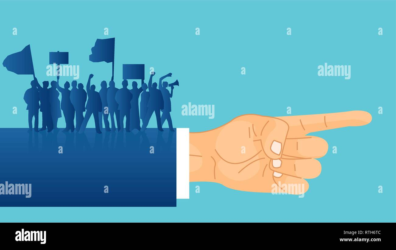 Vector of silhouettes of crowd protesters people with banners and megaphones standing on a politician hand indicating a direction. Concept of revoluti Stock Vector