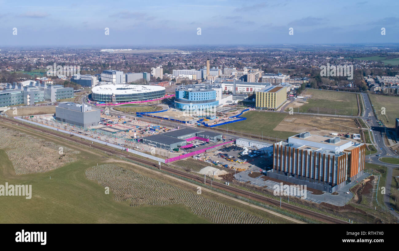 Stock  Aerial picture of the Cambridge Biomedical Campus which includes Addenbrooke's Hospital and the Royal Papworth Hospital in Cambridge, Cambridgeshire,UK. - Stock Image