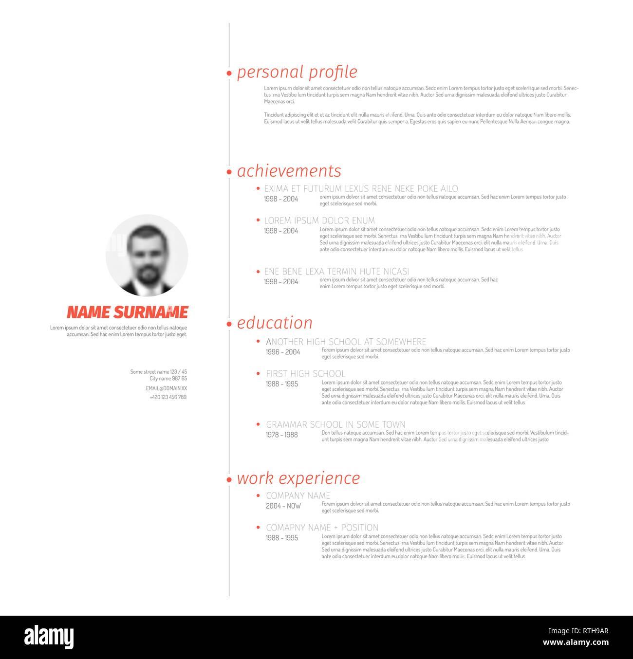 Vector minimalist cv / resume template with nice typogrgaphy ...