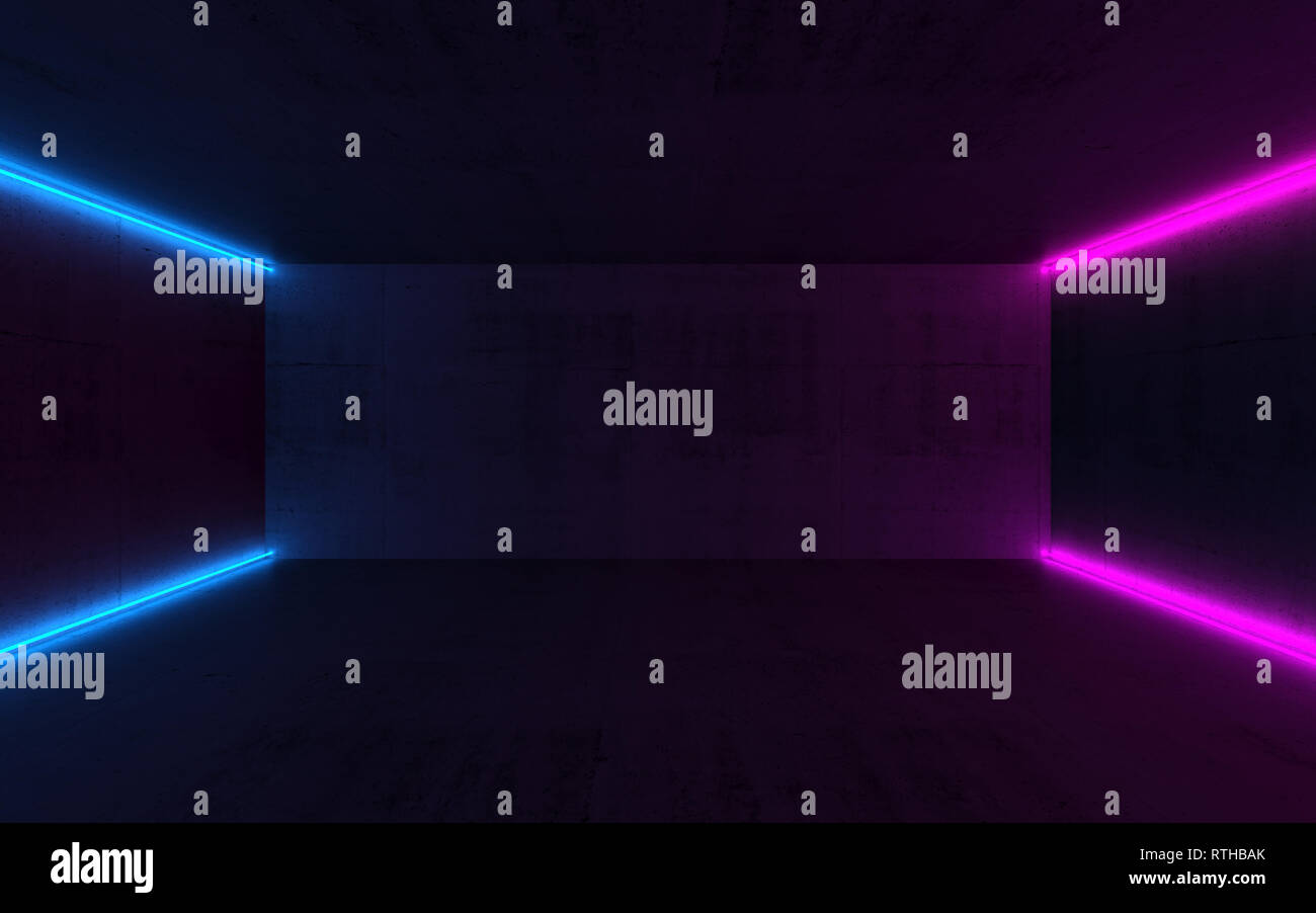 Abstract interior background with neon lights in empty dark