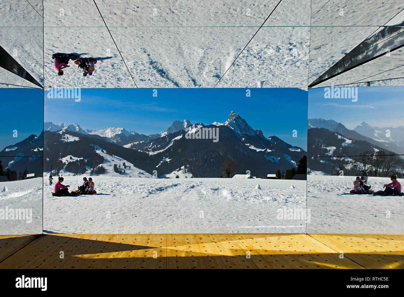 View from the interior of the mirror house Mirage Gstaad by Doug Aitken, Art Exhibition Elevation 1049: Frequencies, Gstaad, Switzerland - Stock Image