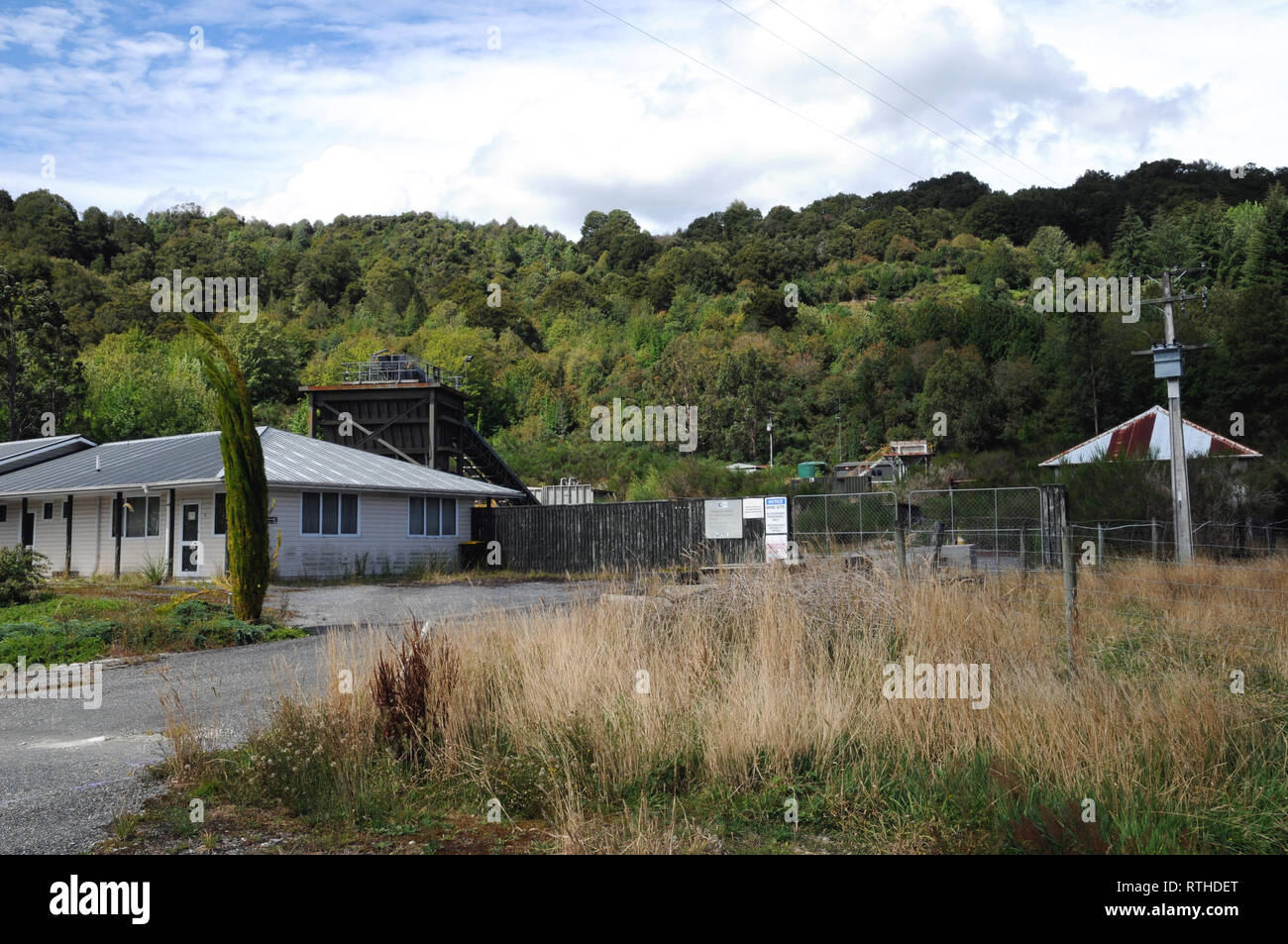 Site of the Terrace Coal Mine at the West Coast town of Reefton on New Zealands South Island. The mine is owned by Crusader Coal. - Stock Image