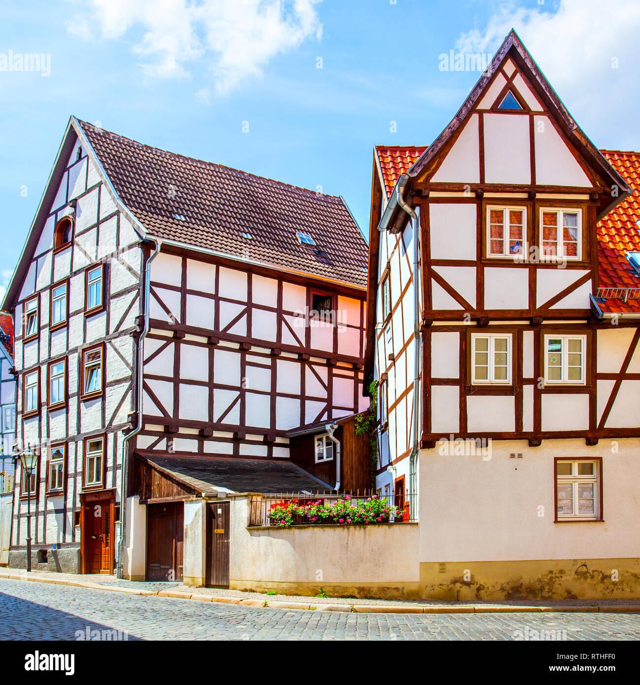 Old fachwerk houses in Quedlinburg, Germany - Stock Image