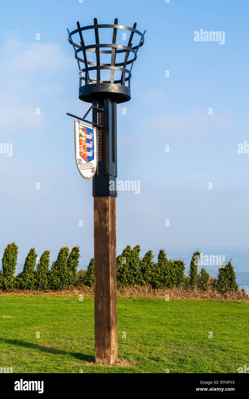 The Queens Diamond Jubilee Beacon at Epple Bay, Birchington on the Kent Coast. Originally erected in 1988 for 400th anniversary of the Spanish Armada. - Stock Image