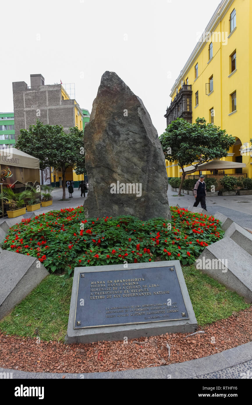 Lima Peru, June 2018: Wanka in granodiorite, Andean basal stone, homage of the city of Lima to Taulichusco el viejo, the last of its native rulers. - Stock Image