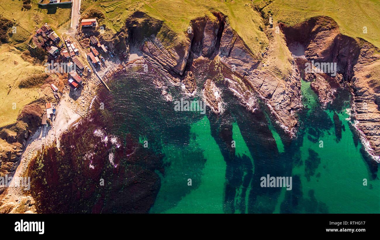 Rock coastline sea drone nature landscape - Stock Image