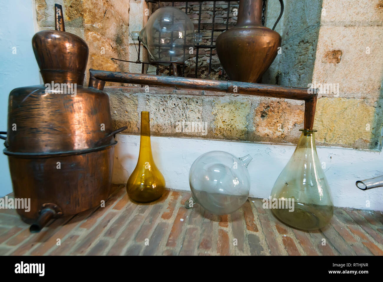 Traditional distilling machine exposed in museum in Dominican Republic - Stock Image