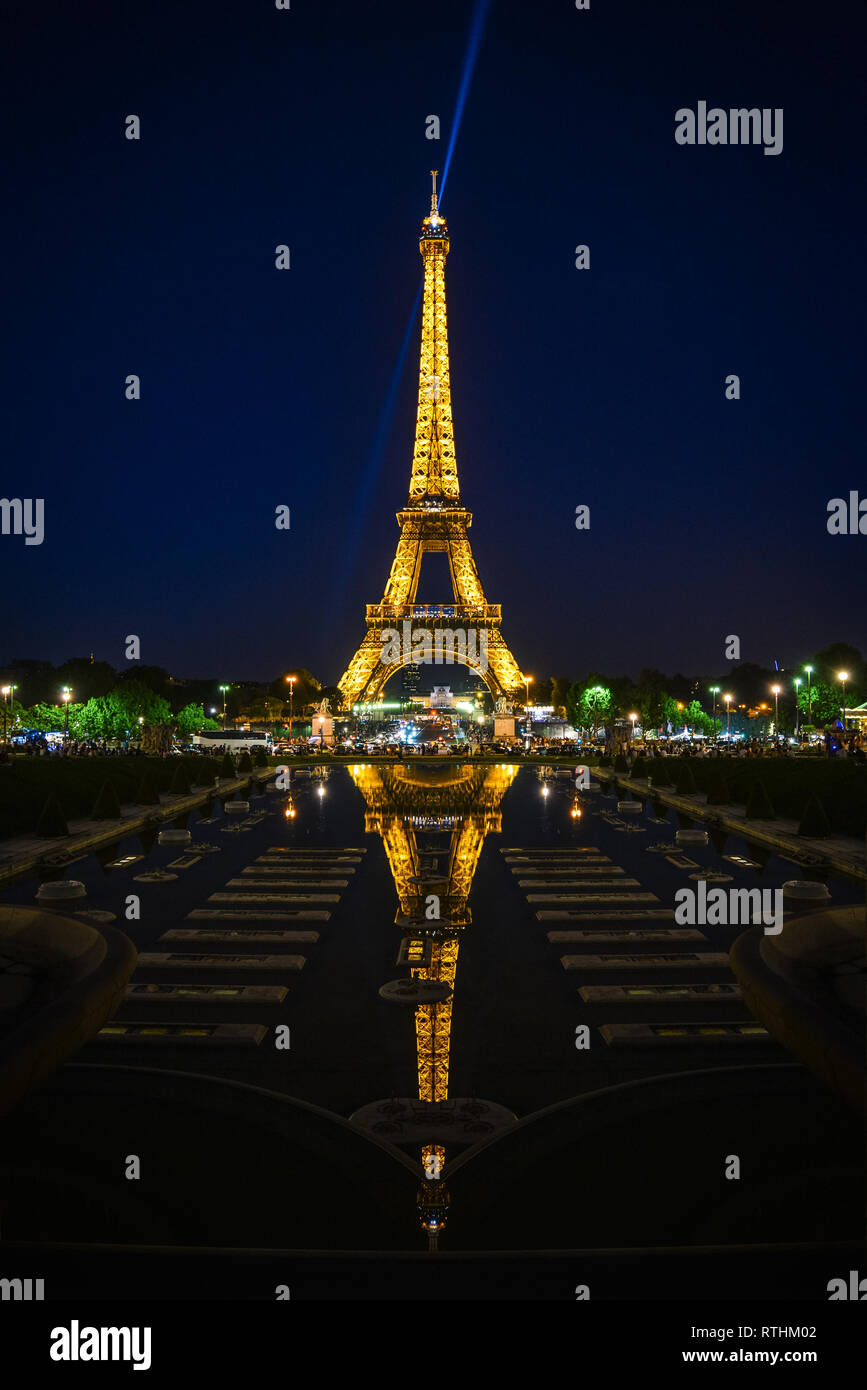 View On Lights Of Eiffel Tower In Paris France From Palais