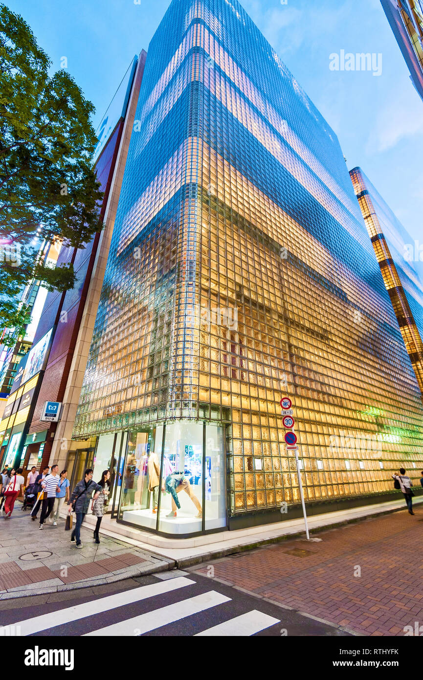 Hermes Ginza Renzo Piano Architecture Tokyo Ginza District Japan - Stock Image
