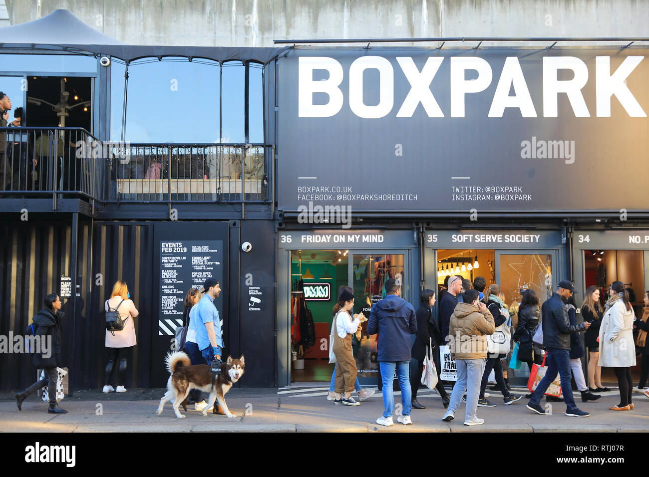 19f78dcf2c1a1 Shoreditch Boxpark in Bethnal Green, a shipping container pop-up mall, for  fashion & lifestyle, shops & cafes, London, UK