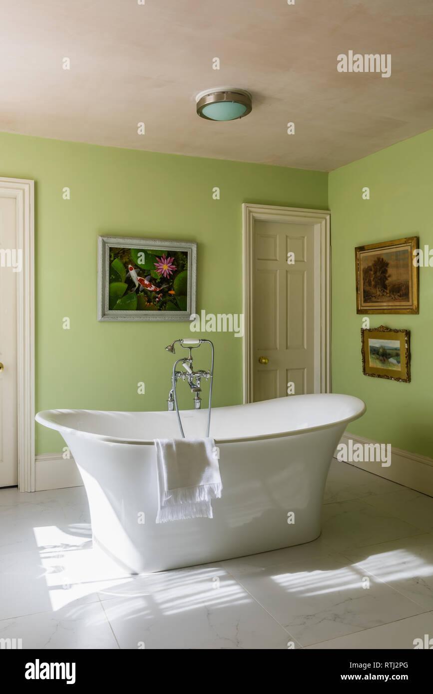 Bathroom Walls Painted In Green Verditer By Little Greene
