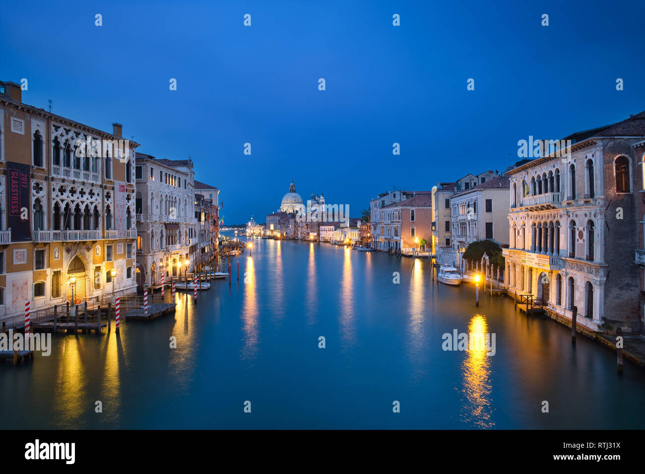 Photo of the venice grand canal at the blue hour time - Stock Image