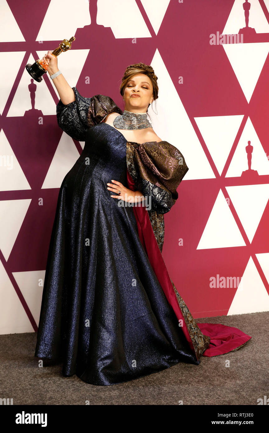 Best Costume Design Winner For Black Panther Ruth E Carter Poses In The Press Room With The Oscar During The 91st Annual Academy Awards At The Dolby Theatre In Hollywood California On