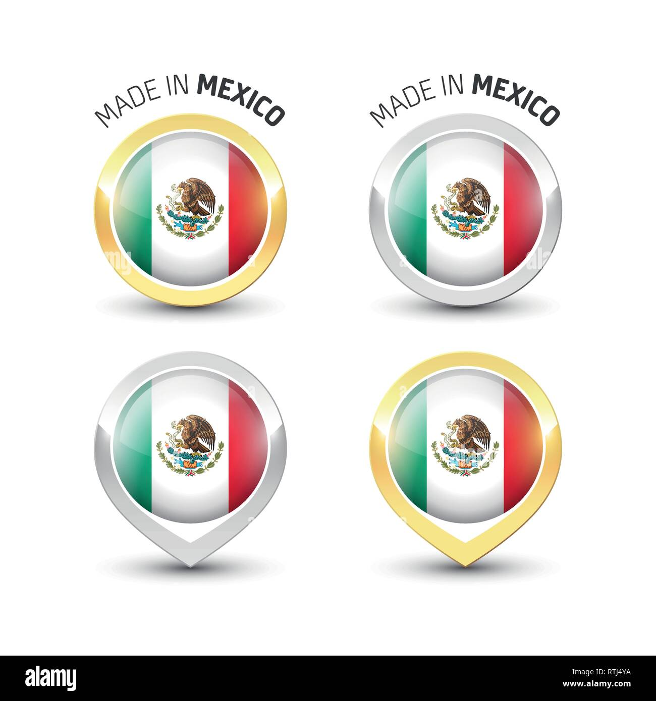 Made in Mexico - Guarantee label with the Mexican flag inside round gold and silver icons. - Stock Image
