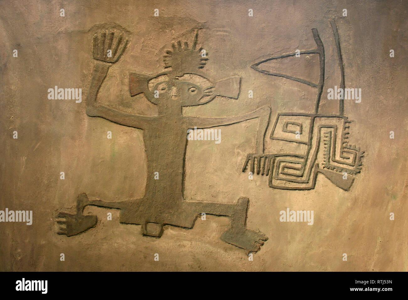 Reproduction Pre Columbian Anthropomorphic petrogyphs - Costa Rica - Stock Image