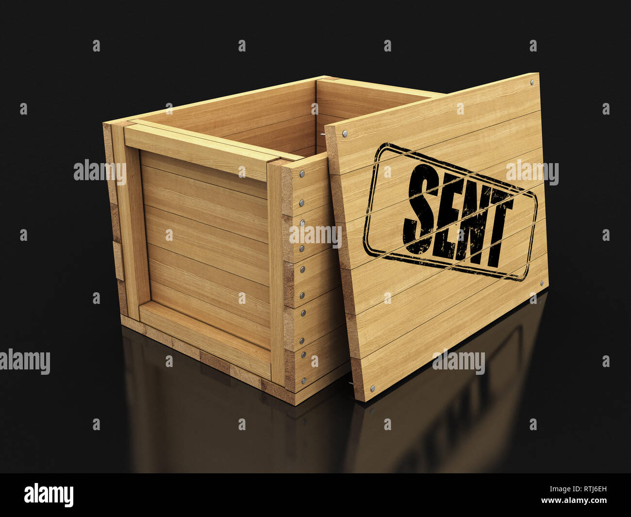 Wooden crate with stamp Sent. Image with clipping path - Stock Image
