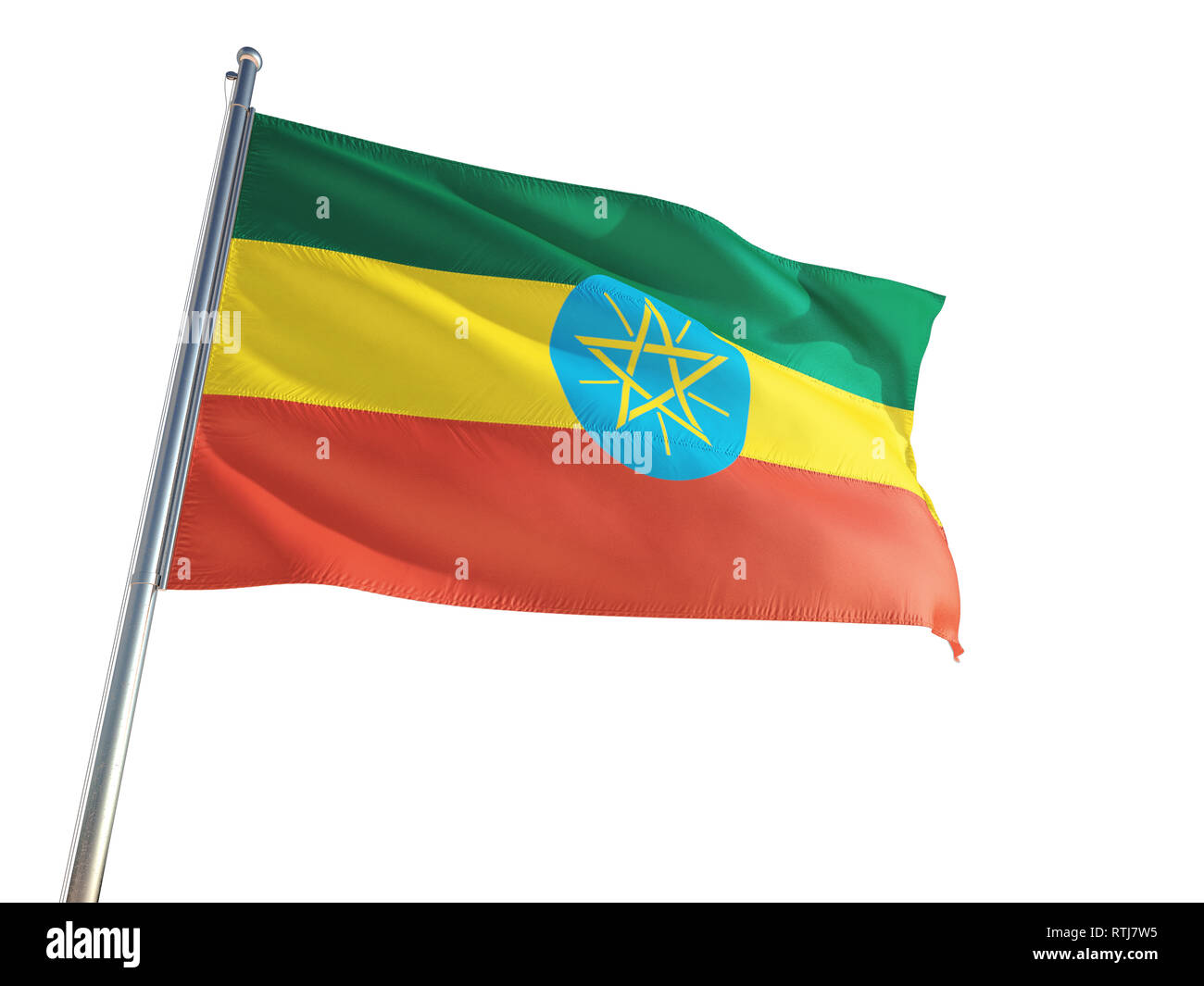 Ethiopia National Flag waving in the wind, isolated white background. High Definition - Stock Image