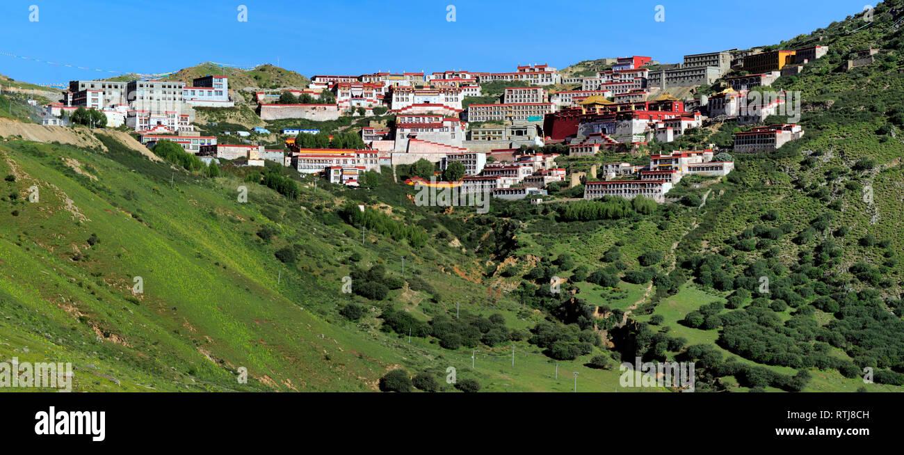 Ganden Monastery, Wangbur Mountain, Lhasa, Tibet, China - Stock Image