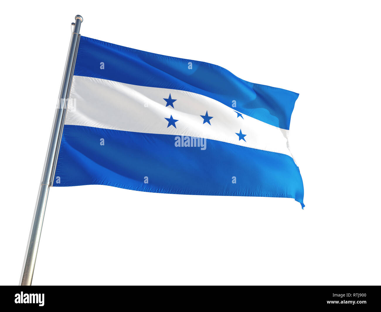 Honduras National Flag waving in the wind, isolated white background. High Definition Stock Photo