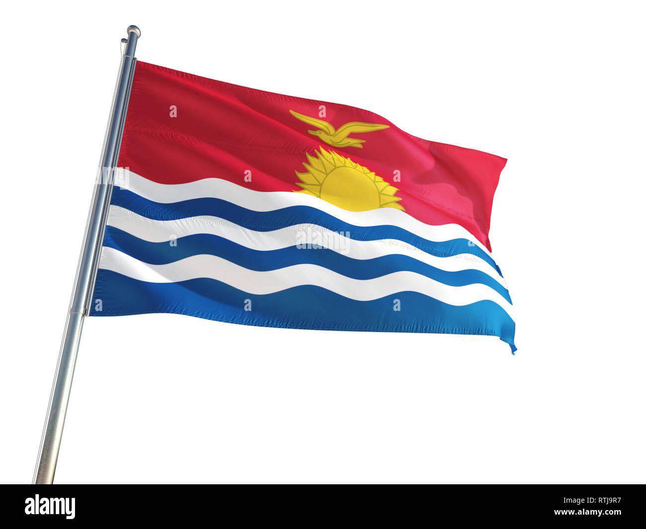 Kiribati National Flag waving in the wind, isolated white background. High Definition - Stock Image