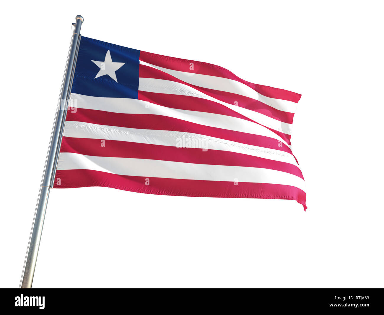 Liberia National Flag waving in the wind, isolated white background. High Definition - Stock Image