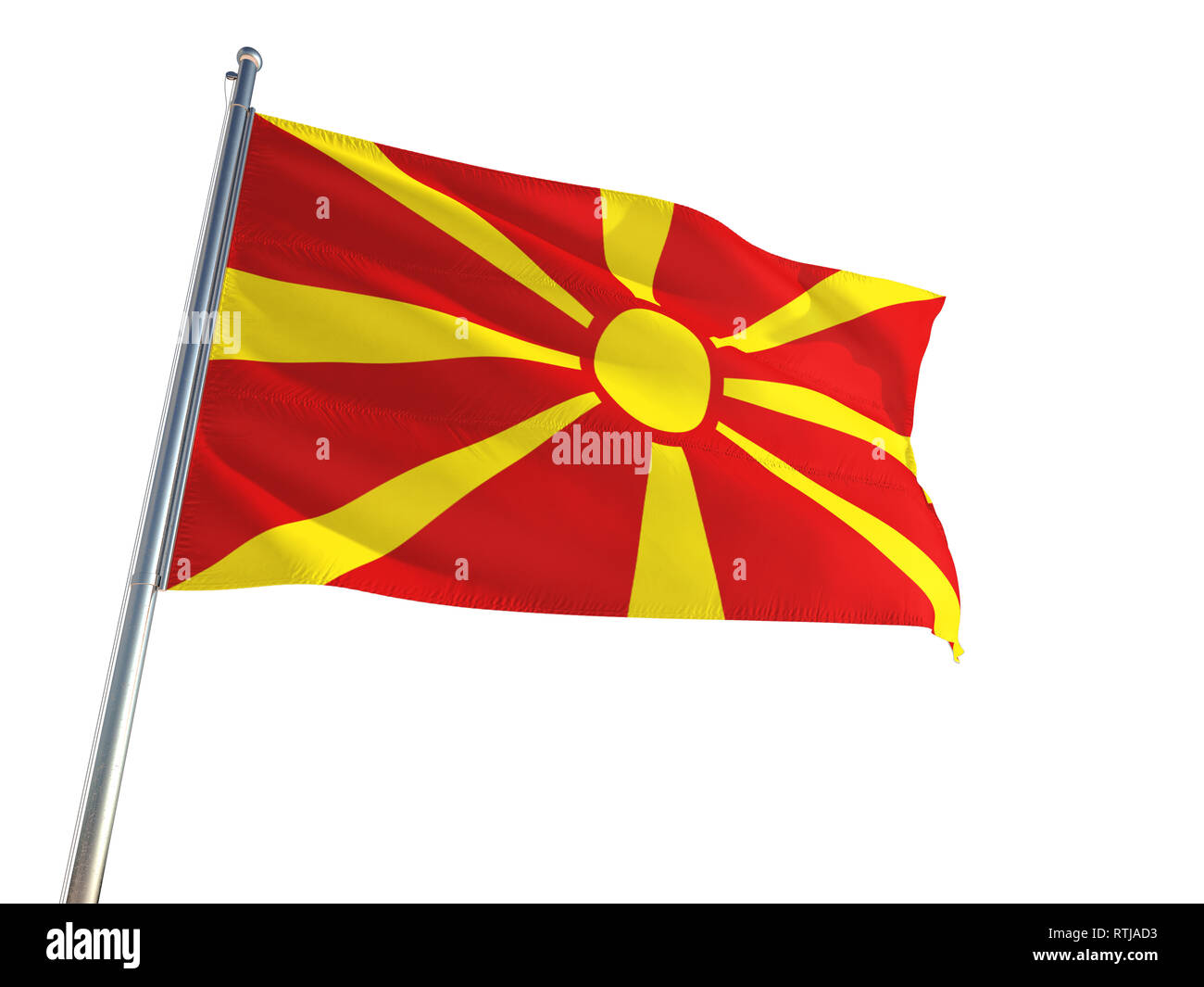Macedonia National Flag waving in the wind, isolated white background. High Definition - Stock Image