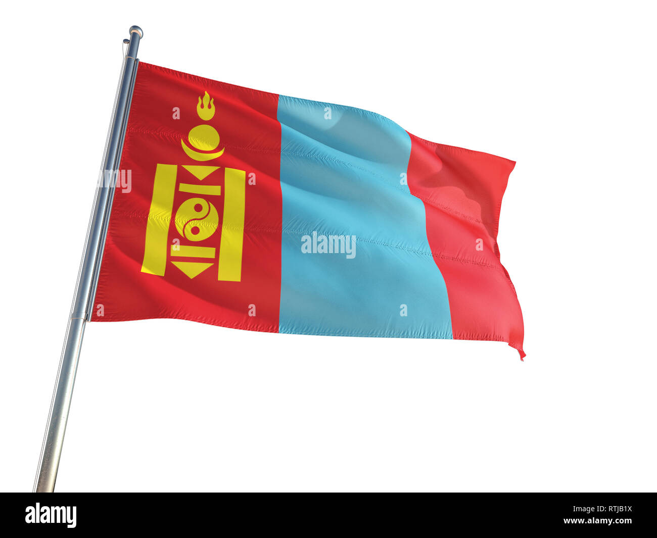 Mongolia National Flag waving in the wind, isolated white background. High Definition - Stock Image